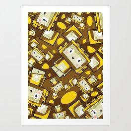 Cute Cartoon Blockimals Lion Pattern Art Print