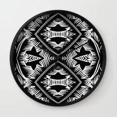 Palm Leaves Pattern - black and white - modern  Wall Clock
