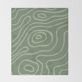 Topographic Map / Grayish Green Throw Blanket