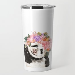 Baby Panda with Flowers Crown Travel Mug