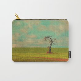 Lonesome Tree in Lime and Orange Field and Aqua and White Sky Carry-All Pouch