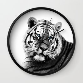 Black and white fractal tiger Wall Clock