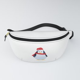 Merry Christmas  Happy Penguin in Santa Hat and Scarf Fanny Pack