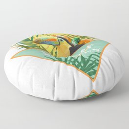 Summer Vibes Typography Tropical Bouquet With Toucan Floor Pillow