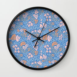 light&line: pastel flower, illustrated pattern in bright, vibrant color. Wall Clock
