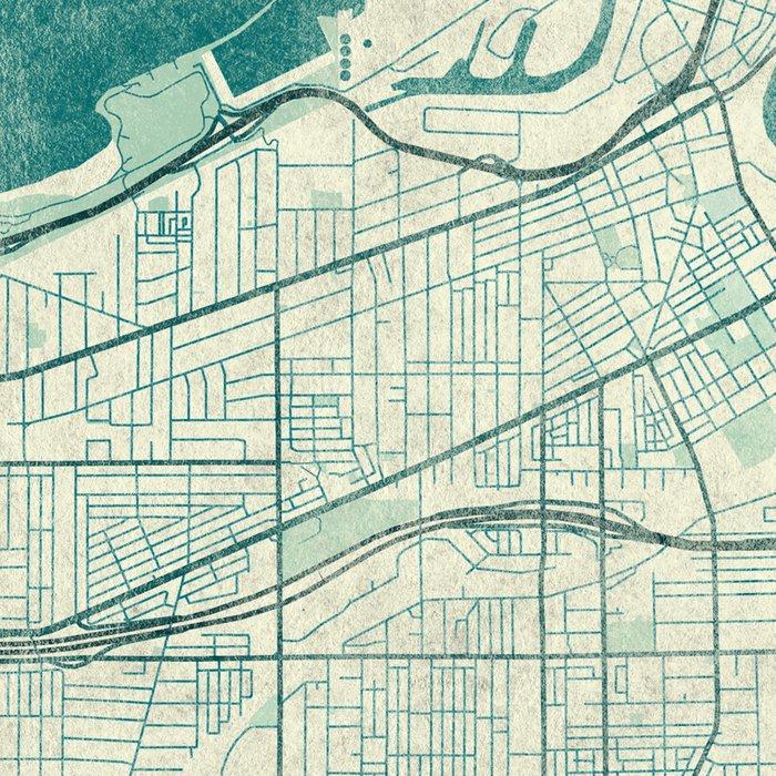 Cleveland Map Blue Vintage Leggings