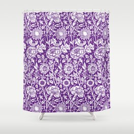 "William Morris Floral Pattern | ""Pink and Rose"" in Purple and White Shower Curtain"