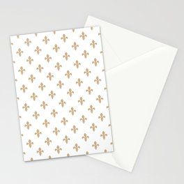 Fleur-de-Lis (Tan & White Pattern) Stationery Cards
