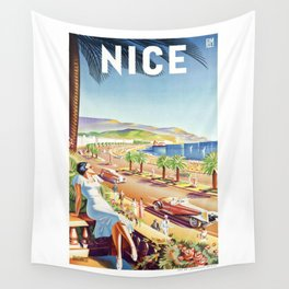1935 Nice France Travel Poster Wall Tapestry
