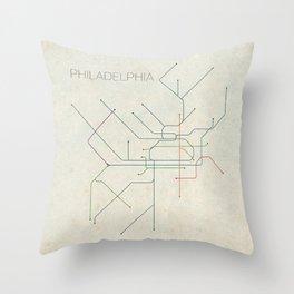 Minimal Philadephia Subway Map Throw Pillow