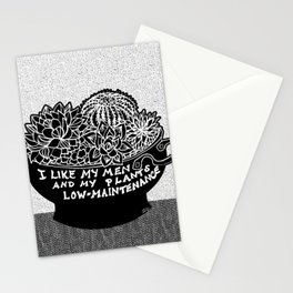 Lo-Maintenance Men & Cacti Black and White Trendy Illustration Stationery Cards