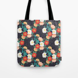 Elegant hand drawn floral and confetti design Tote Bag