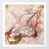 montreal Art Prints featuring Montreal by MapMapMaps.Watercolors