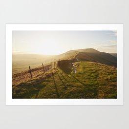 Rushup Edge at sunset. Derbyshire, UK. Art Print