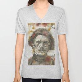 MAXIM GORKY - watercolor portrait.1 Unisex V-Neck