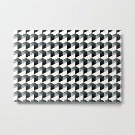 Night Watch Pewter Green Hexagon, Cube Pattern Optical Illusion Metal Print