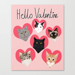 Cute cat collection hearts love valentines day gift for cat lady unique kitten funny illustration  Canvas Print
