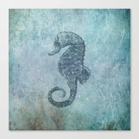 sea horse Canvas Prints featuring sea & horse by Steffi Louis