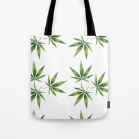 marijuana Tote Bags featuring Marijuana Leaves  by Limitless Design