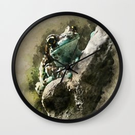 Blue tree frog Wall Clock