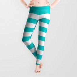 Narrow Horizontal Stripes - White and Cyan Leggings