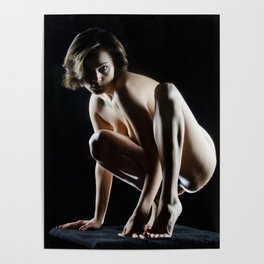 8220s-KMA Art Nude Model Young Woman on Pedestal Poised Balanced Squared Poster