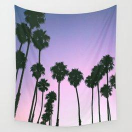 Palm Tree Purple Sunset Wall Tapestry