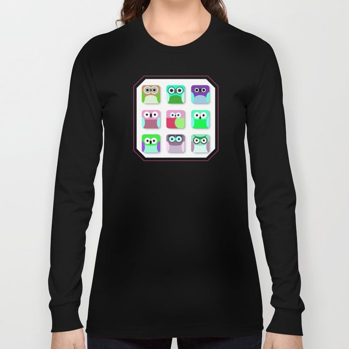 Cute Owl Pattern #2 Long Sleeve T-shirt