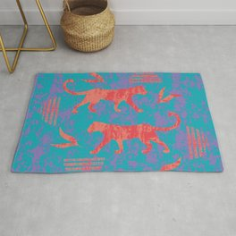 Coral red silhouettes of wild African walking leopards, little shadows of little leaves and abstract geometric shapes artistic dry brush grunge blue painting. Rug