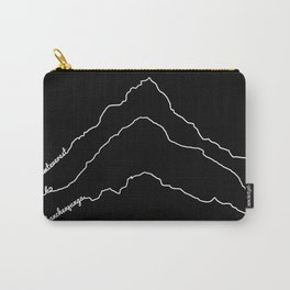 Tallest Mountains in the World / Mt Everest K2 Kanchenjunga / B&W Minimalist Line Drawing Art Print Carry-All Pouch
