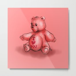 Pink Teddy Bear Metal Print