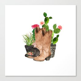 Boots and Cactus Canvas Print
