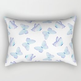 Lilac aqua blue watercolor hand painted butterfly Rectangular Pillow