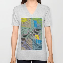 facade with fire escape Unisex V-Neck