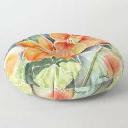 Nasturtiums Watercolor Floor Pillow