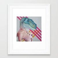 queer Framed Art Prints featuring Queer Dinosaur by Kim Leutwyler