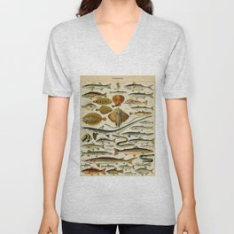 Fish Vintage Scientific Illustration French Language Encyclopedia Lithographs Educational Diagrams Unisex V-Neck