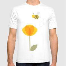 Bee a Flower MEDIUM Mens Fitted Tee White