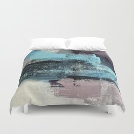 Reaction: an abstract mixed media piece in blues and purple by Alyssa Hamilton Art Duvet Cover