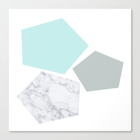 Geo marble and turquoise Canvas Print