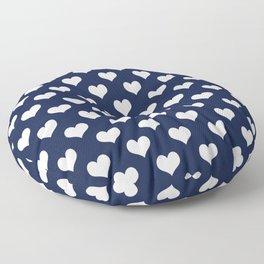 Navy Blue Love Hearts Minimal Floor Pillow