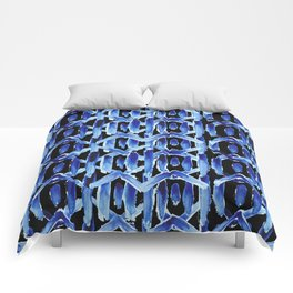 "Black and Blue Watercolor Pattern ""Rain Chain"" Comforters"