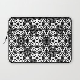 Japanese Asanoha or Star Pattern, Black and White Laptop Sleeve