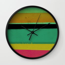 Stripes on Aqua Wall Clock