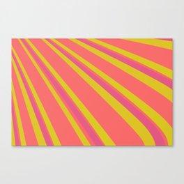 Pantone Living Coral Sulphur Spring and Vivacious Red Retro Lines Canvas Print