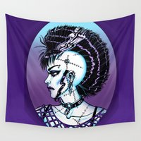 punk rock Wall Tapestries featuring Punk Rock Girl by Eeriette