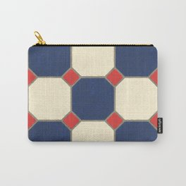 Classic Red Blue Cream Tile Carry-All Pouch