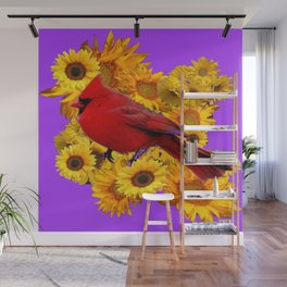 RED CARDINAL & YELLOW SUNFLOWERS PANTENE PURPLE Wall Mural