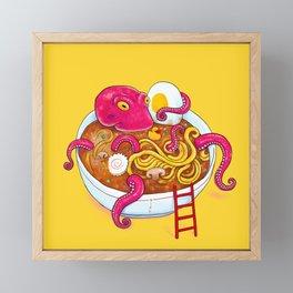 Bowl of ramen with octopus taking a bath Framed Mini Art Print