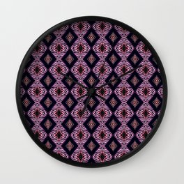 Pink Modern Tribal Diamond and Stripe Tile Wall Clock